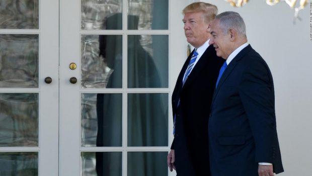 Trump greets embattled Netanyahu, signs Golan Heights proclamation